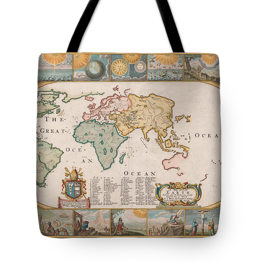 Antique World Map Tote Bag featuring the drawing Antique Maps - Old Cartographic Maps - Antique Map Of The World by Studio Grafiikka