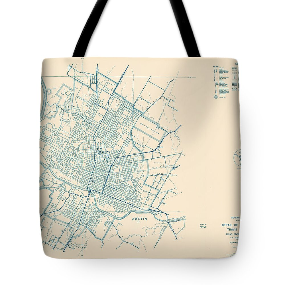 Antique Map Of Travis County Tote Bag featuring the drawing Antique Maps - Old Cartographic Maps - Antique Map Of Travis County, Texas, 1936 by Studio Grafiikka