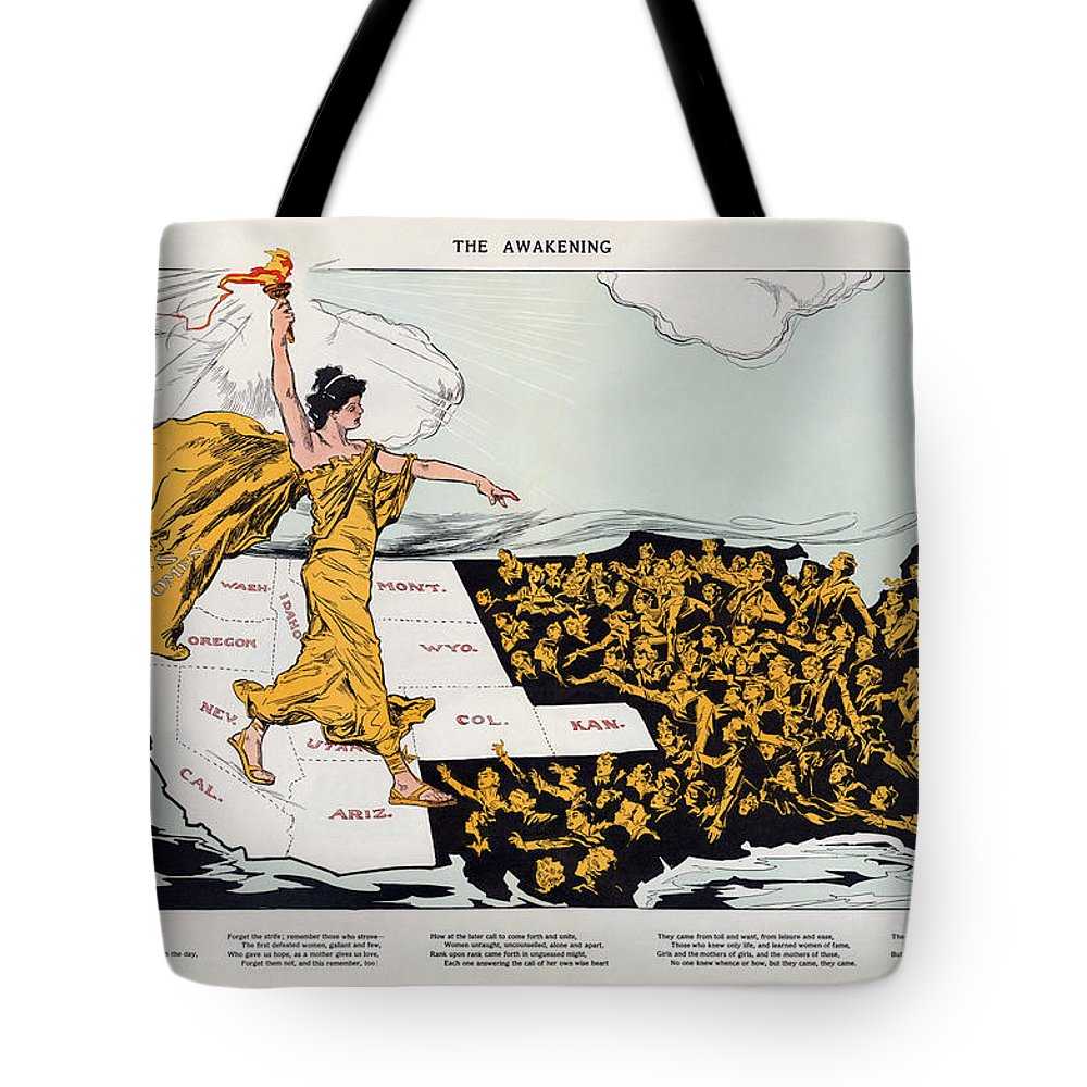 Antique Map Of The United States Of America Tote Bag featuring the drawing Antique Map Of The United States Of America - The Spirit Of Liberty - The Awakening, 1915 by Studio Grafiikka