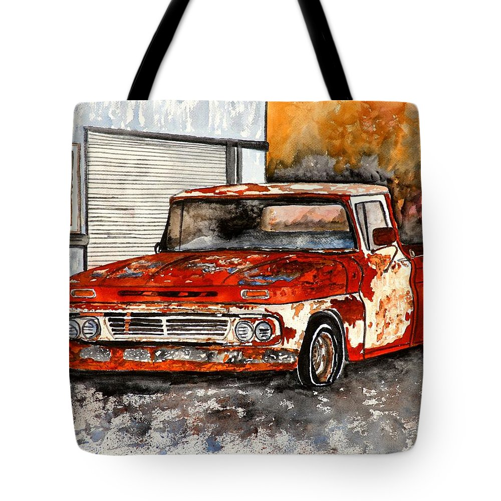 Transportation Tote Bag featuring the painting Antique Old Truck Painting by Derek Mccrea