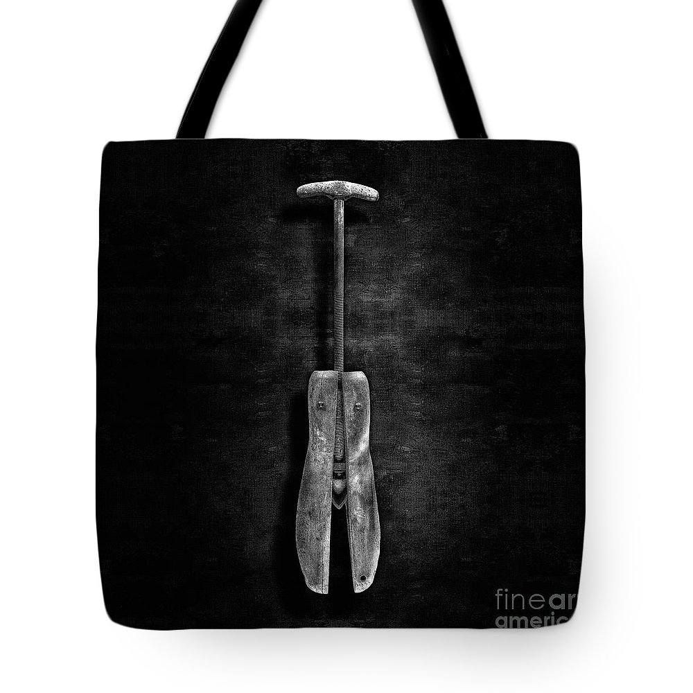 Art Tote Bag featuring the photograph Antique Shoe Stretcher Bw by YoPedro
