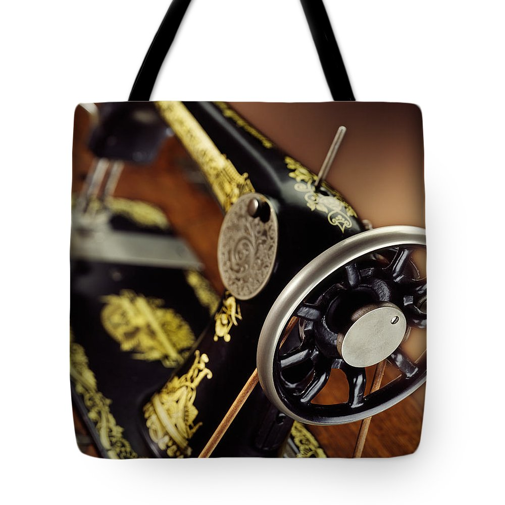 Singer Tote Bag featuring the photograph Antique Singer Sewing Machine 3 by Kelley King