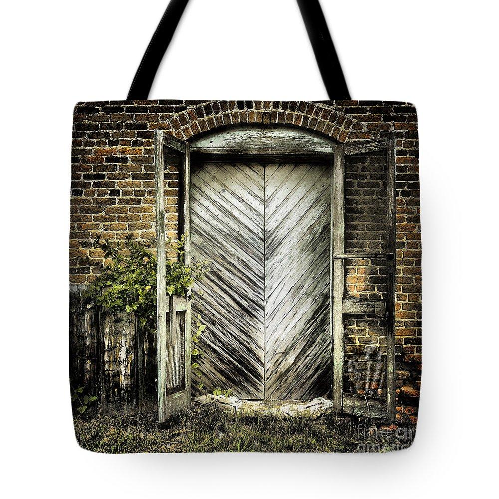 Door Tote Bag featuring the photograph Antique Store Door by Sari Sauls
