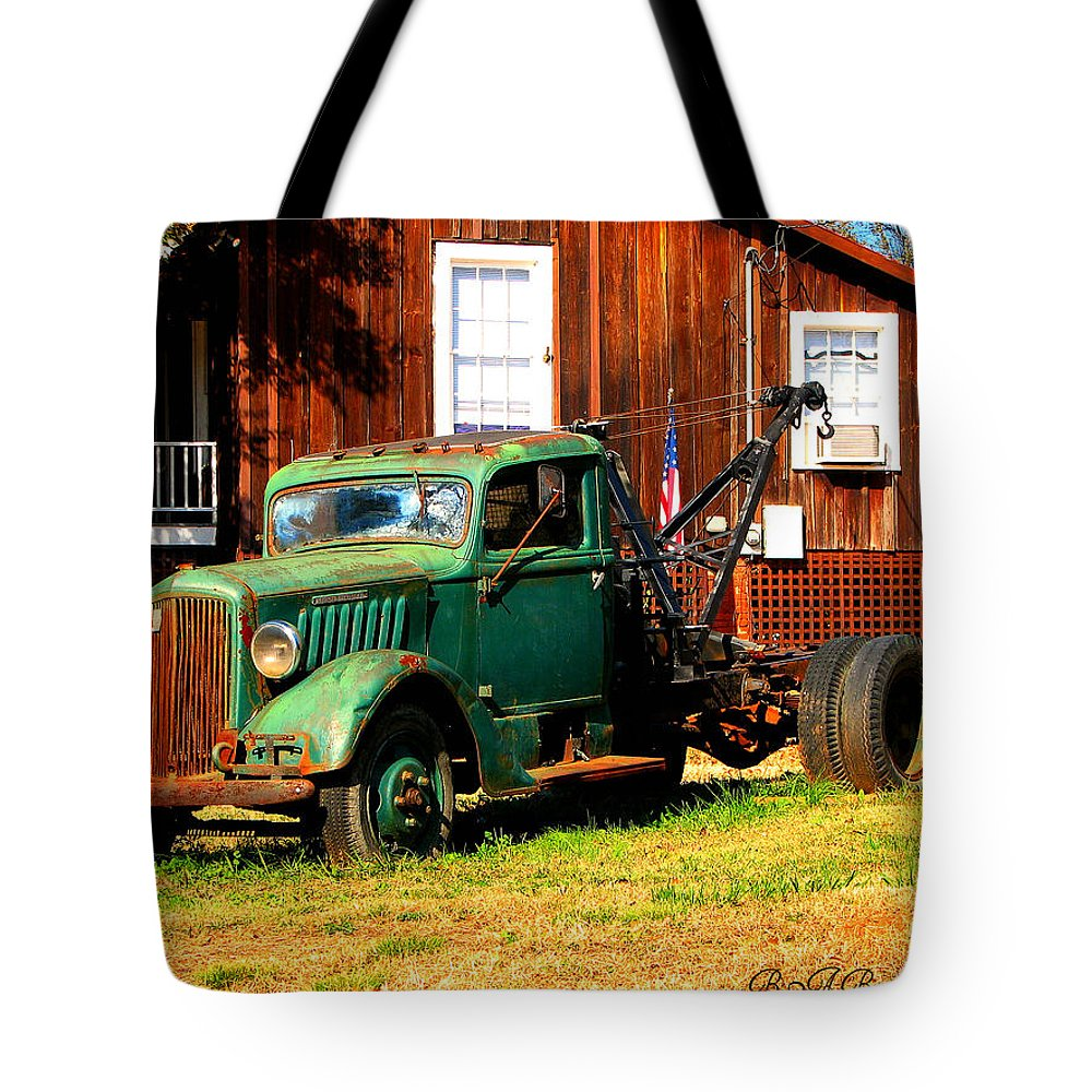 Tow Truck Tote Bag featuring the photograph Antique Tow Truck by Barbara Bowen