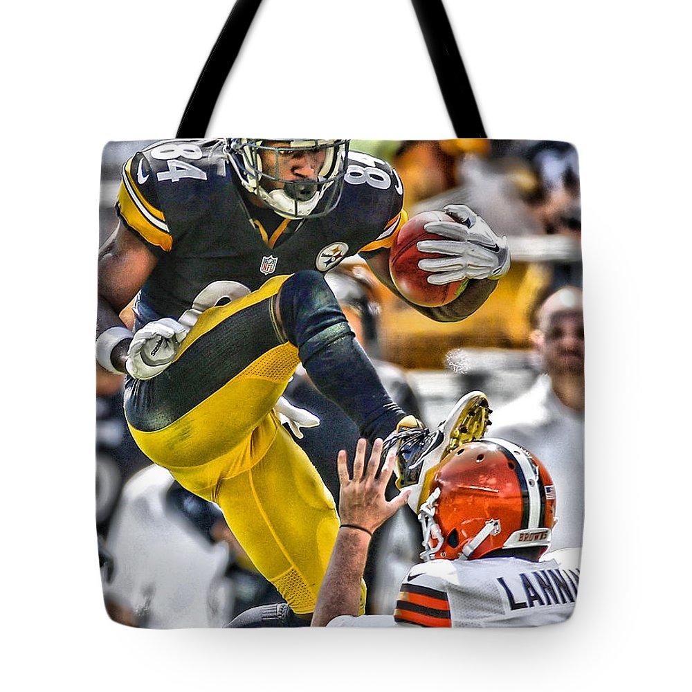Antonio Brown Tote Bag featuring the painting Antonio Brown Steelers Art 5 by Joe Hamilton