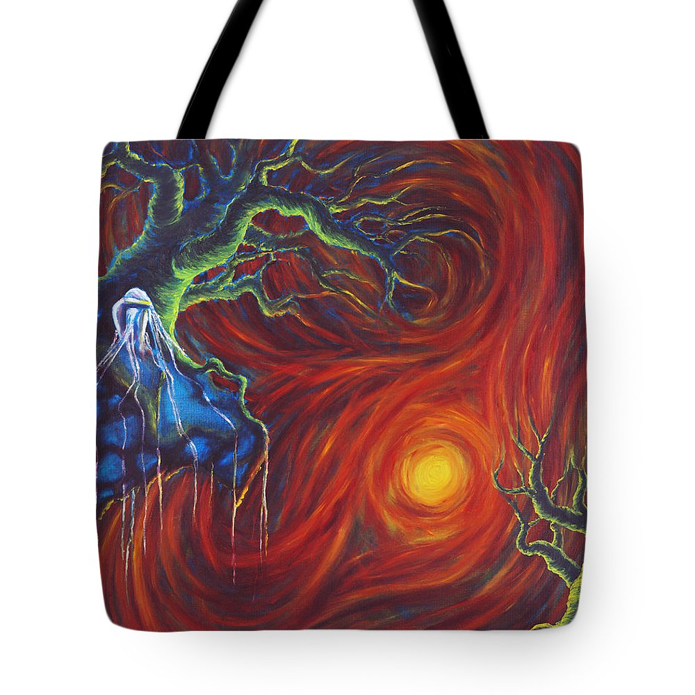 Tree Paintings Tote Bag featuring the painting Anxiety by Jennifer McDuffie