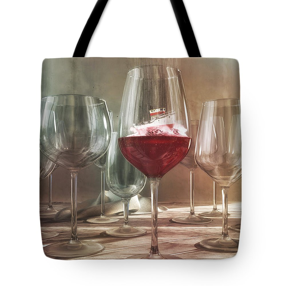 Wine Tote Bag featuring the digital art Any Port In A Storm by Cynthia Decker