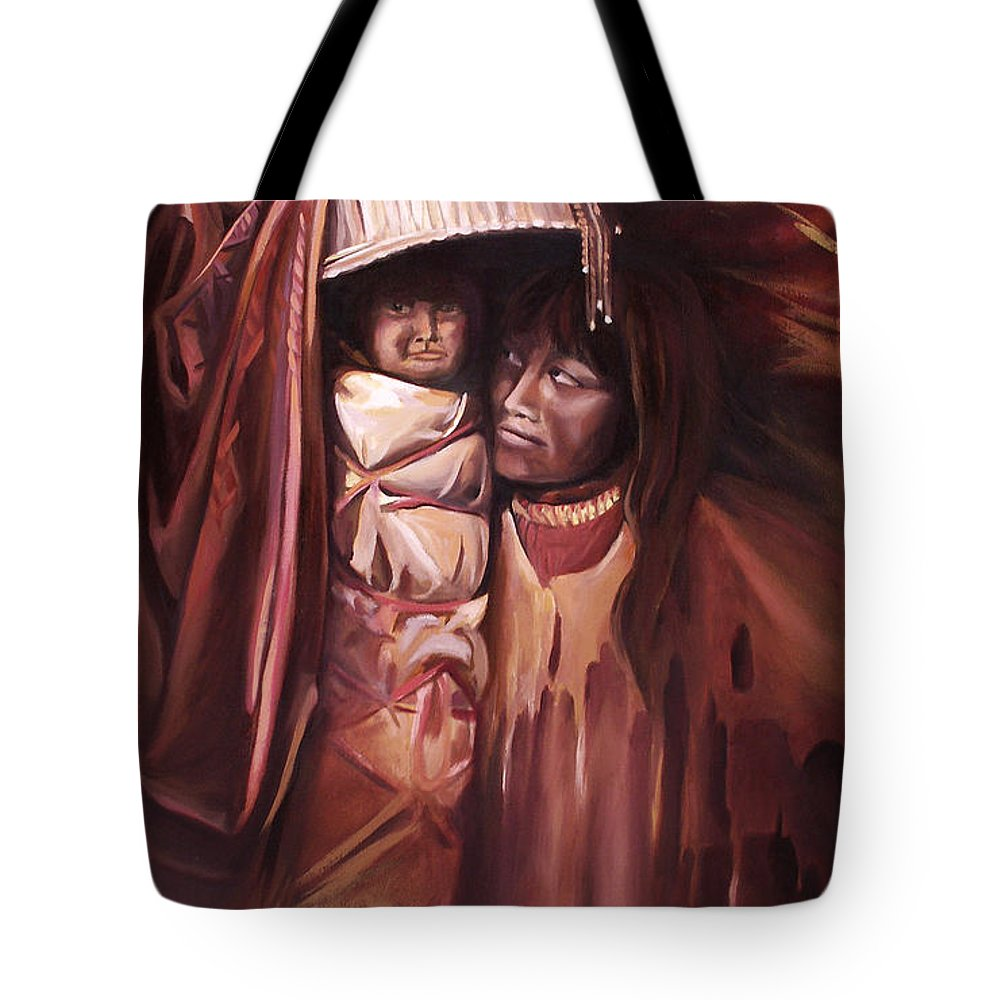 Native American Tote Bag featuring the painting Apache Girl And Papoose by Nancy Griswold