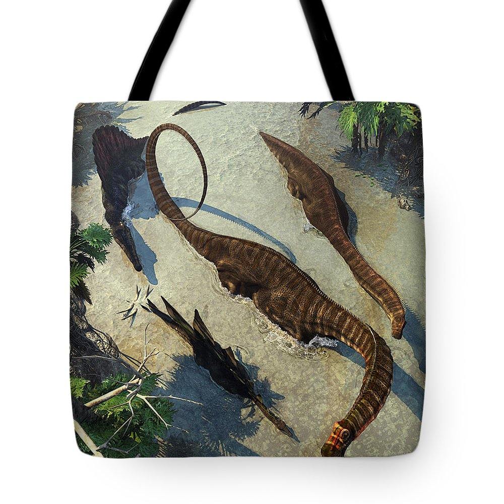 Dinosaurs Tote Bag featuring the digital art Apatosaurus From Above by Kurt Miller