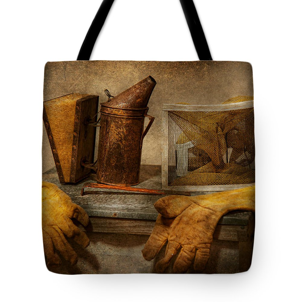 Beekeeper Tote Bag featuring the photograph Apiary - The Beekeeper by Mike Savad