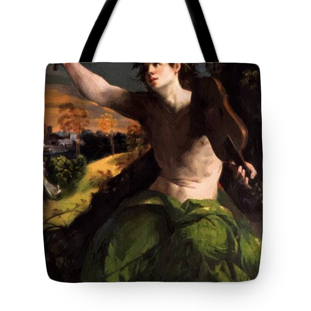 Apollo Tote Bag featuring the painting Apollo And Daphne 1524 by Dossi Dosso