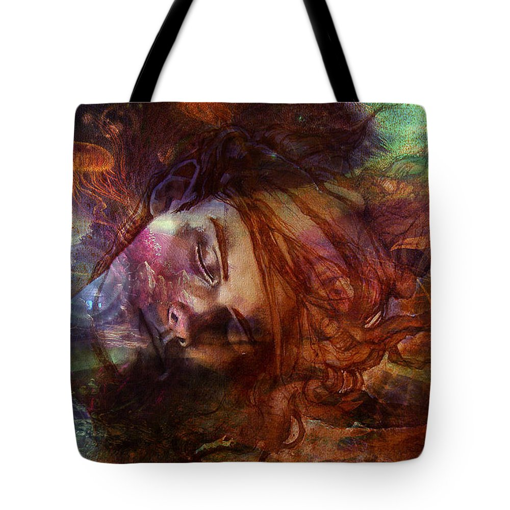 Apollo Dreaming By Safir Tote Bag featuring the painting Apollo Dreaming by Safir Rifas
