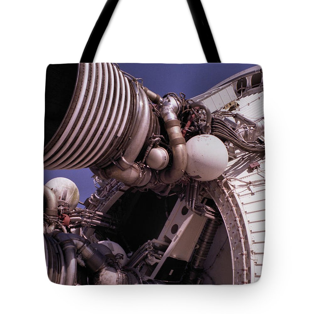 Technology Tote Bag featuring the photograph Apollo Rocket Engine by Richard Rizzo