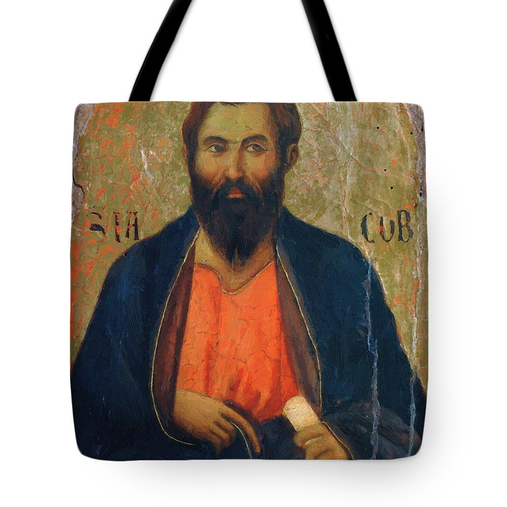 Apostle Tote Bag featuring the painting Apostle Jacob 1311 by Duccio