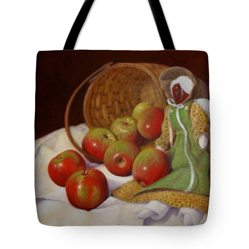 Realism Tote Bag featuring the painting Apple Annie by Donelli DiMaria