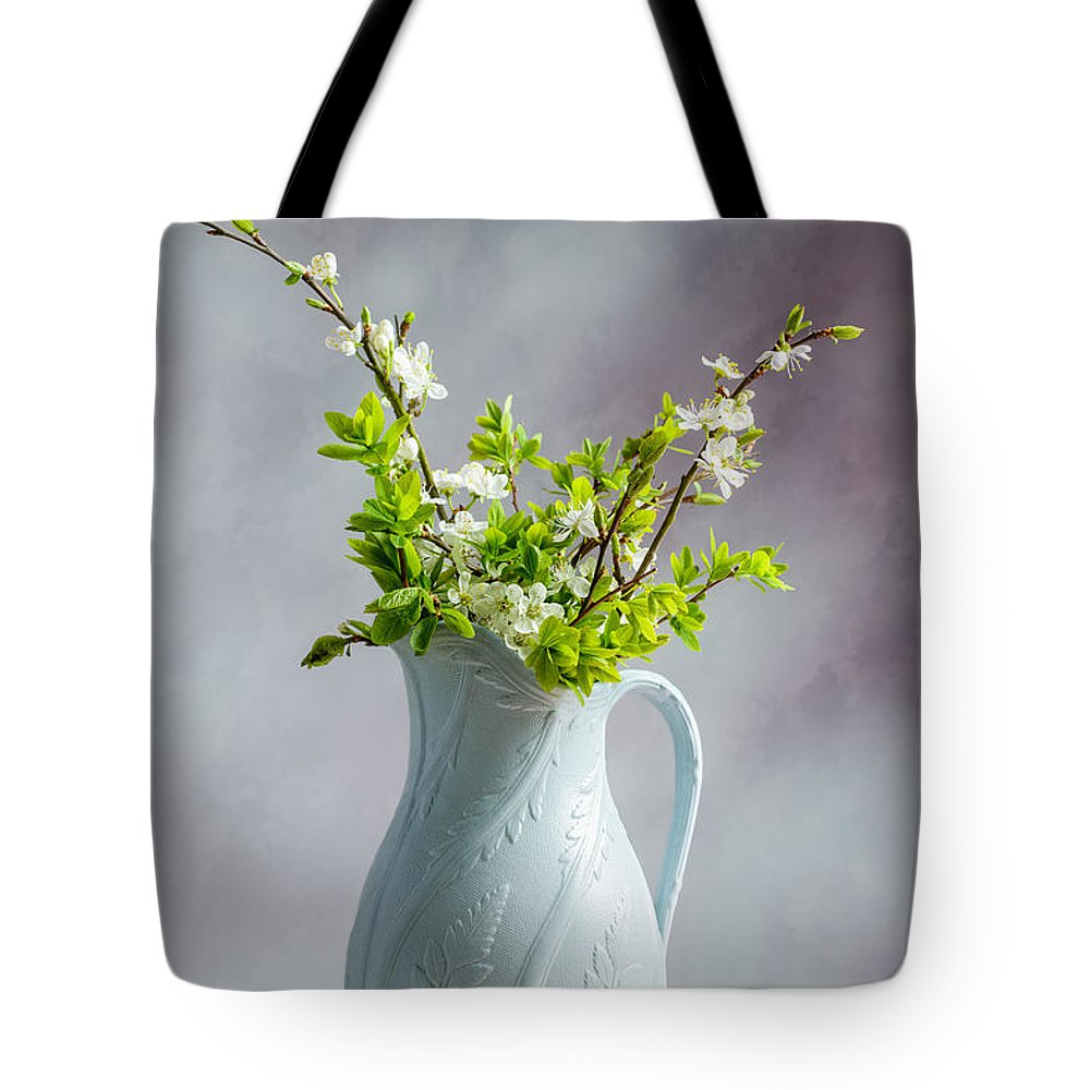 Blue Tote Bag featuring the photograph Apple Blossom by Amanda Elwell