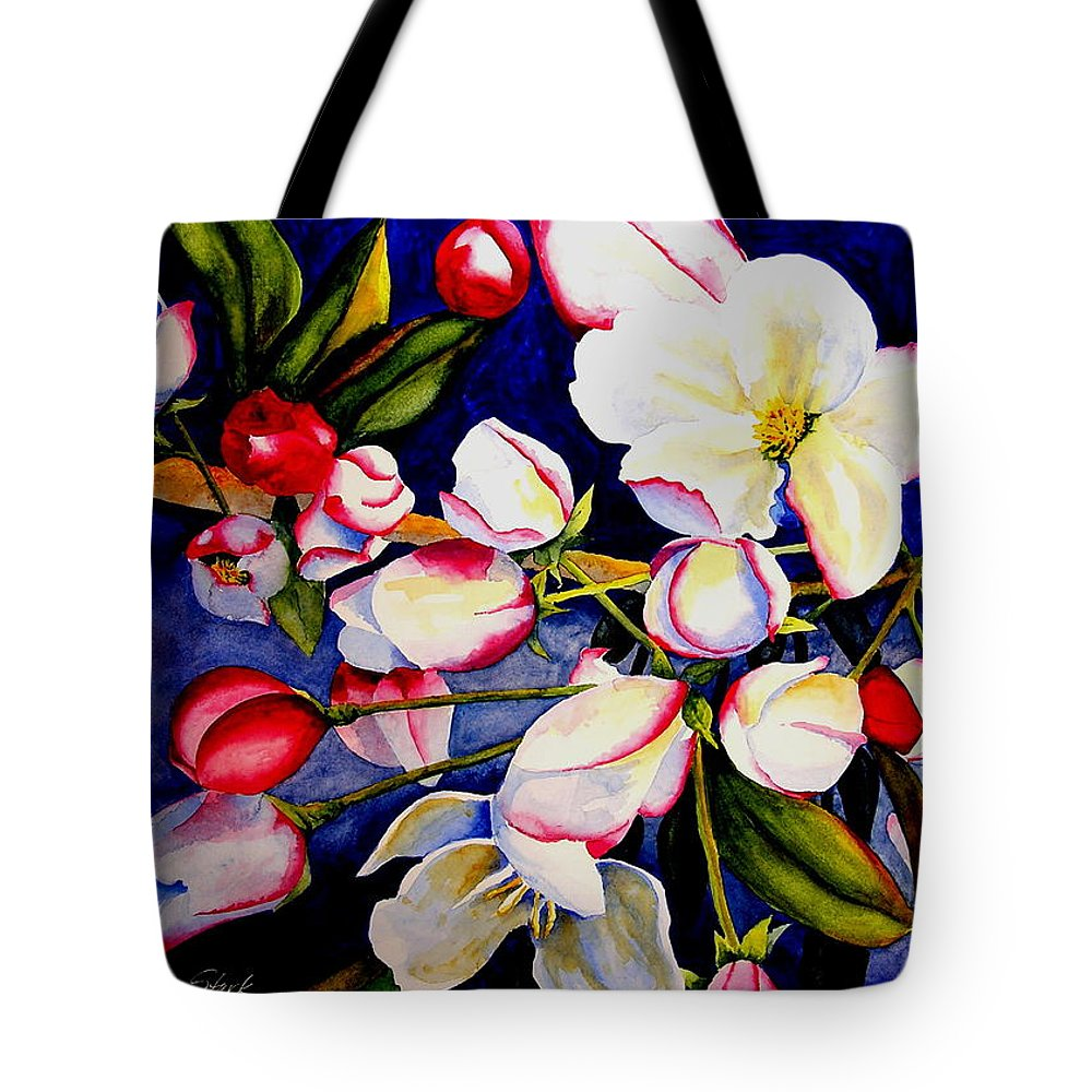 Apple Blossoms Tote Bag featuring the painting Apple Blossom Time by Karen Stark