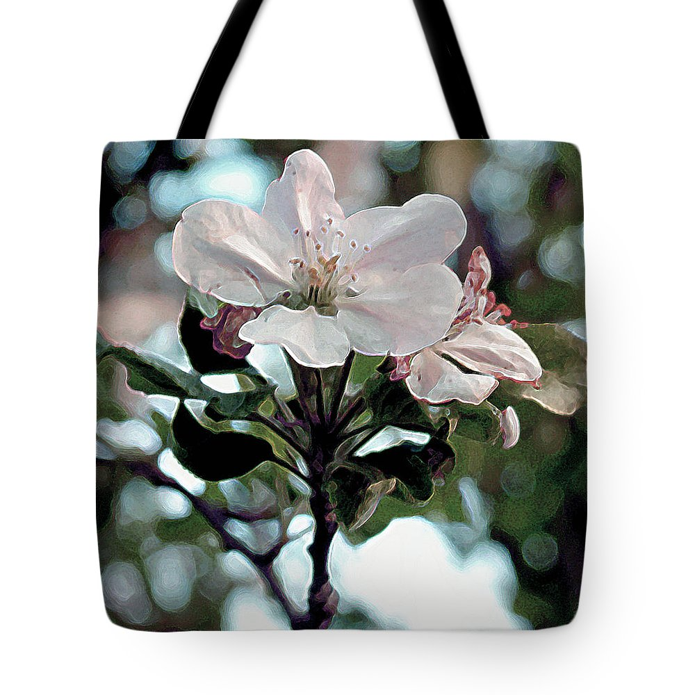 Flowers Tote Bag featuring the painting Apple Blossom Time by RC deWinter