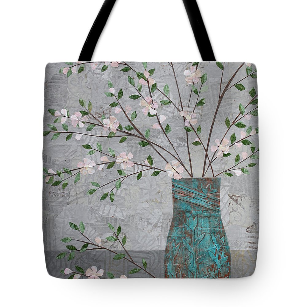 Art Collage Tote Bag featuring the mixed media Apple Blossoms In Turquoise Vase by Janyce Boynton