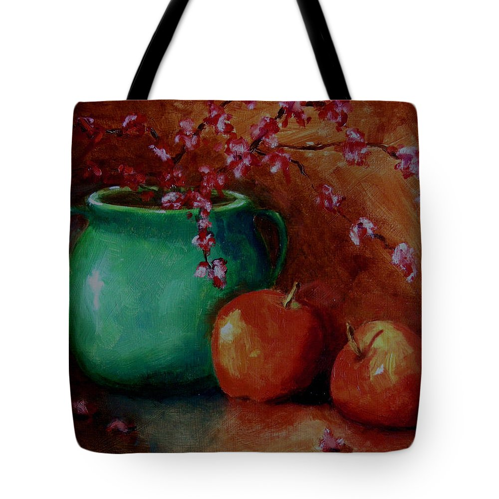 Apple Tote Bag featuring the painting Apple Blossoms by Linda Hiller