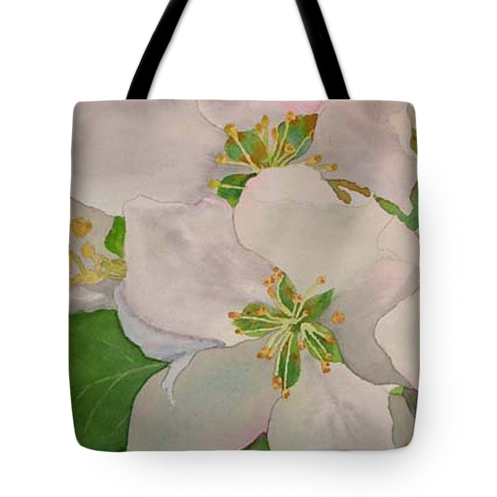 Apple Blossoms Tote Bag featuring the painting Apple Blossoms by Sharon E Allen