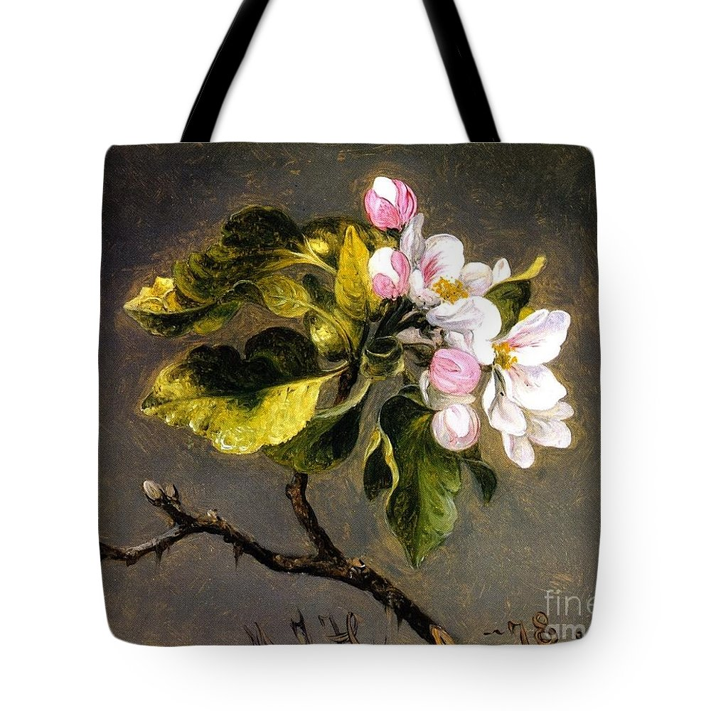 Apple Blossomss - Martin Johnson Heade Tote Bag featuring the painting Apple Blossomss by MotionAge Designs