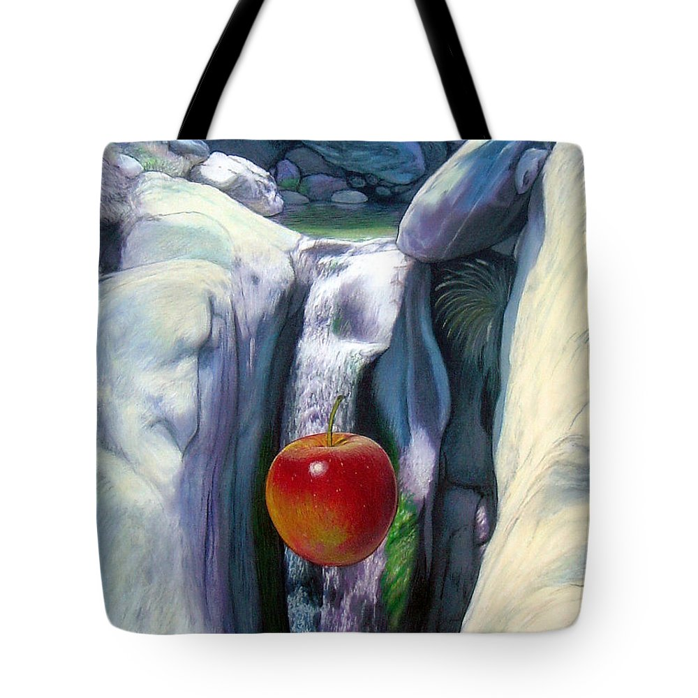 Apples Tote Bag featuring the digital art Apple Falls by Snake Jagger