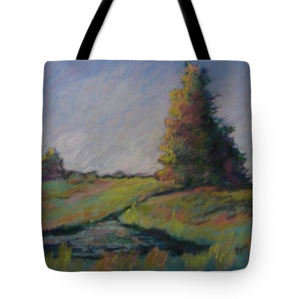 Landscape Tote Bag featuring the pastel Apple Pond by Pat Snook