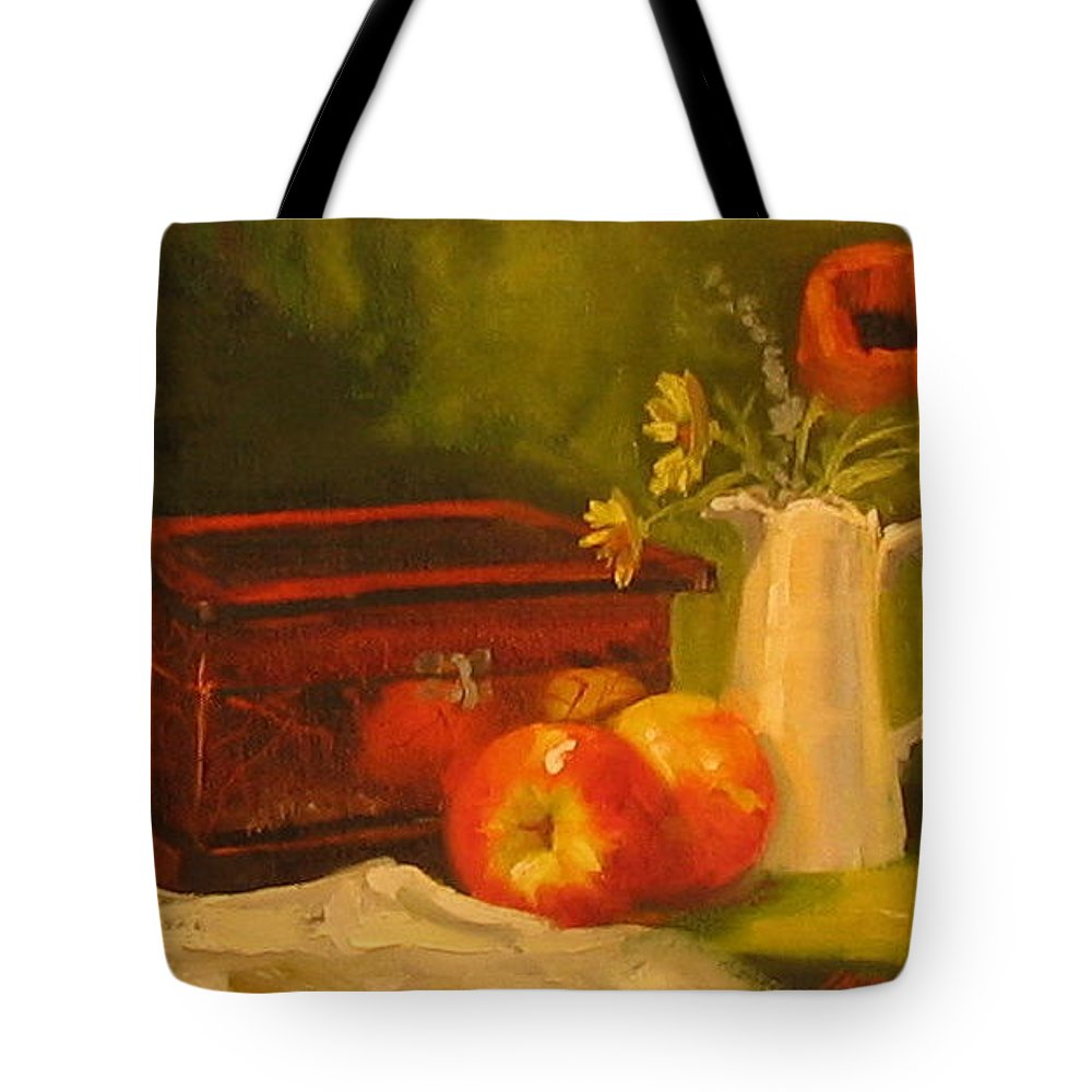 Oil Tote Bag featuring the painting Apple Reflections by Laura Lee Zanghetti