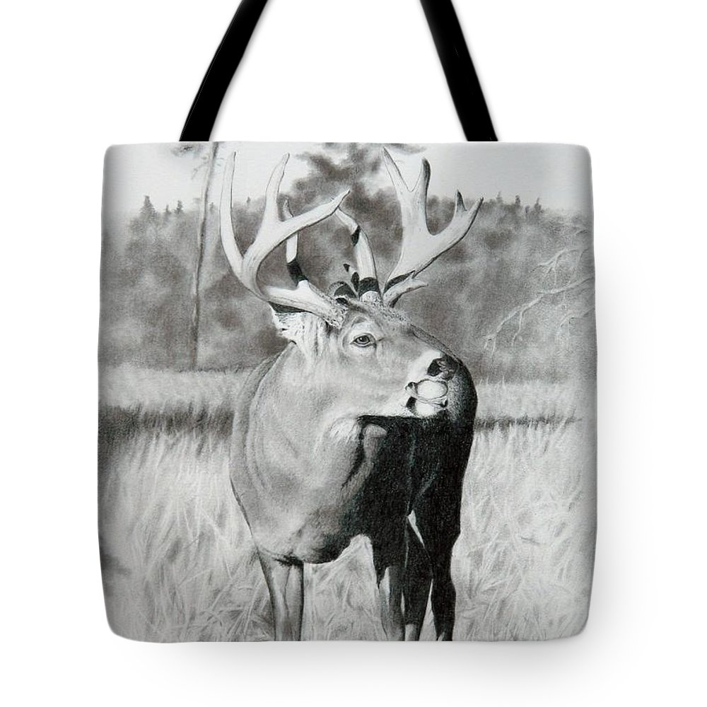Animal Tote Bag featuring the drawing Apple Snack by Stan White