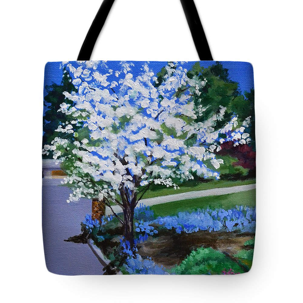 Apple Tree Tote Bag featuring the painting Apple Tree in Spring by Mary Chant