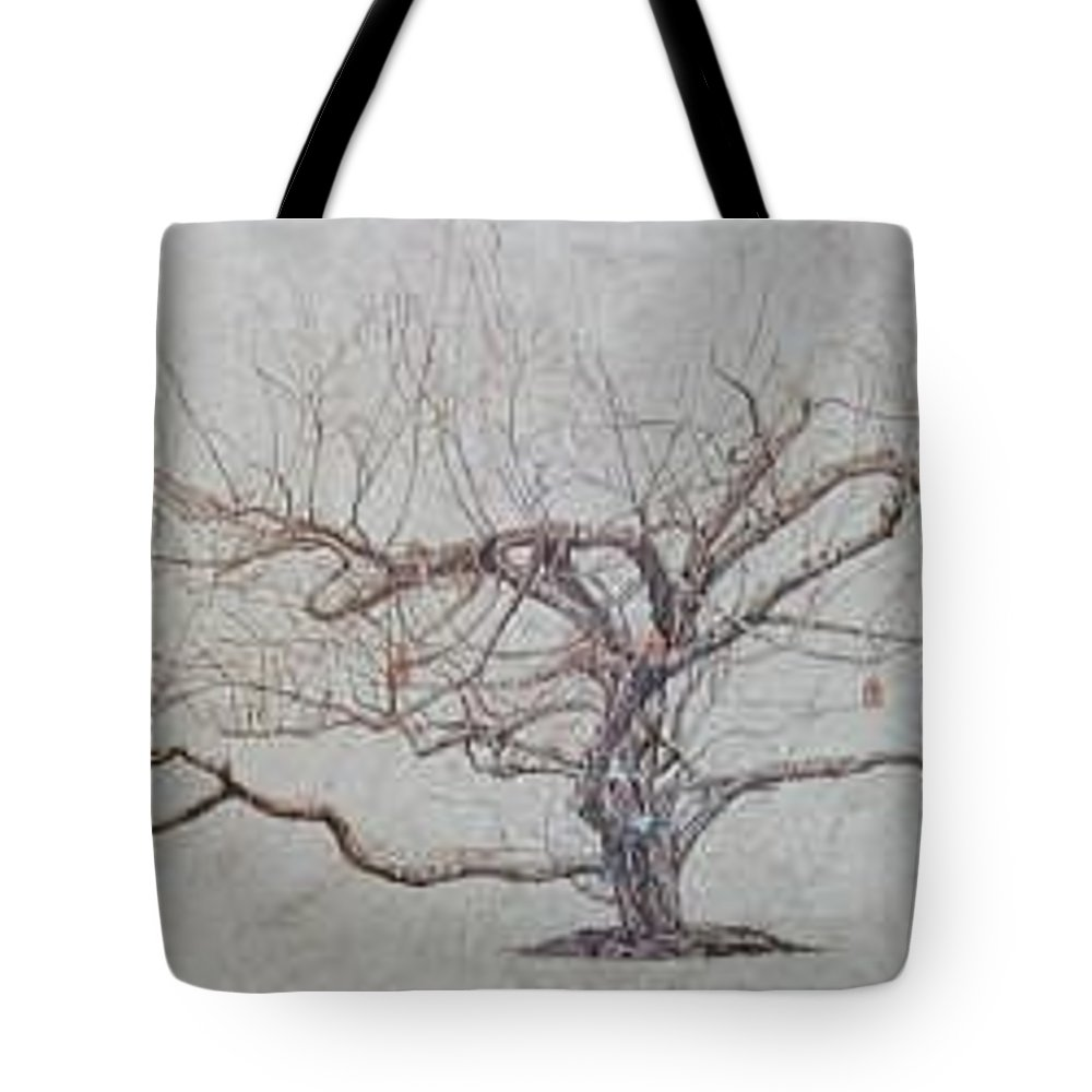 Apple Tree Tote Bag featuring the painting Apple Tree In Winter by Leah Tomaino