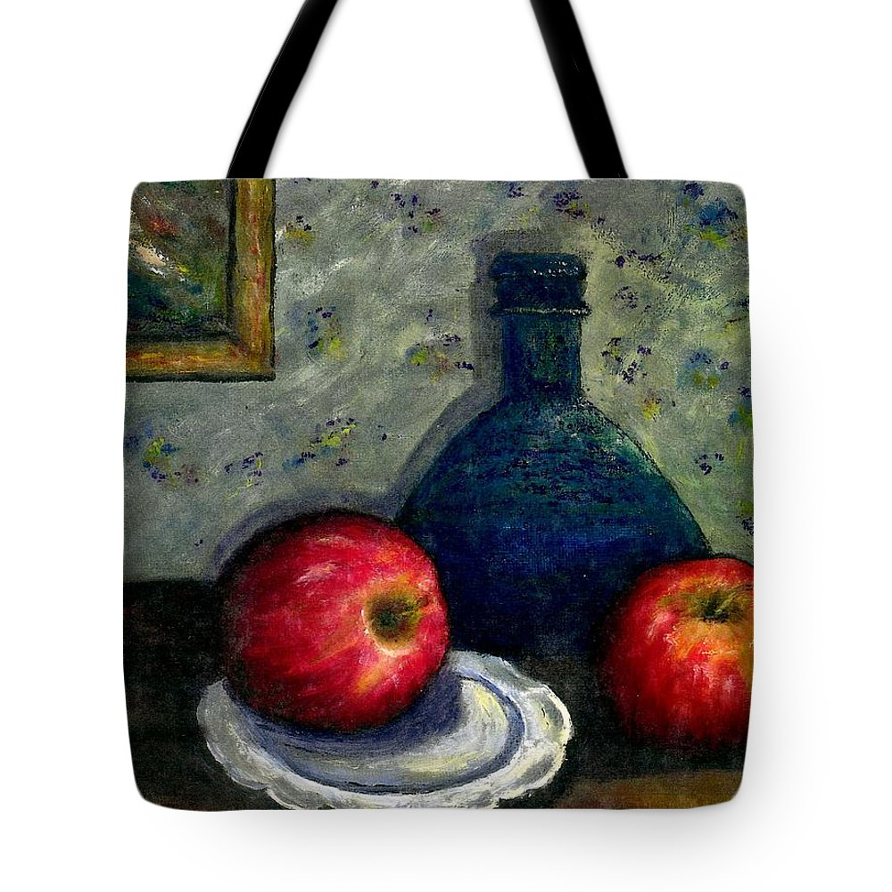 Still Life Tote Bag featuring the painting Apples And Bottles by Gail Kirtz