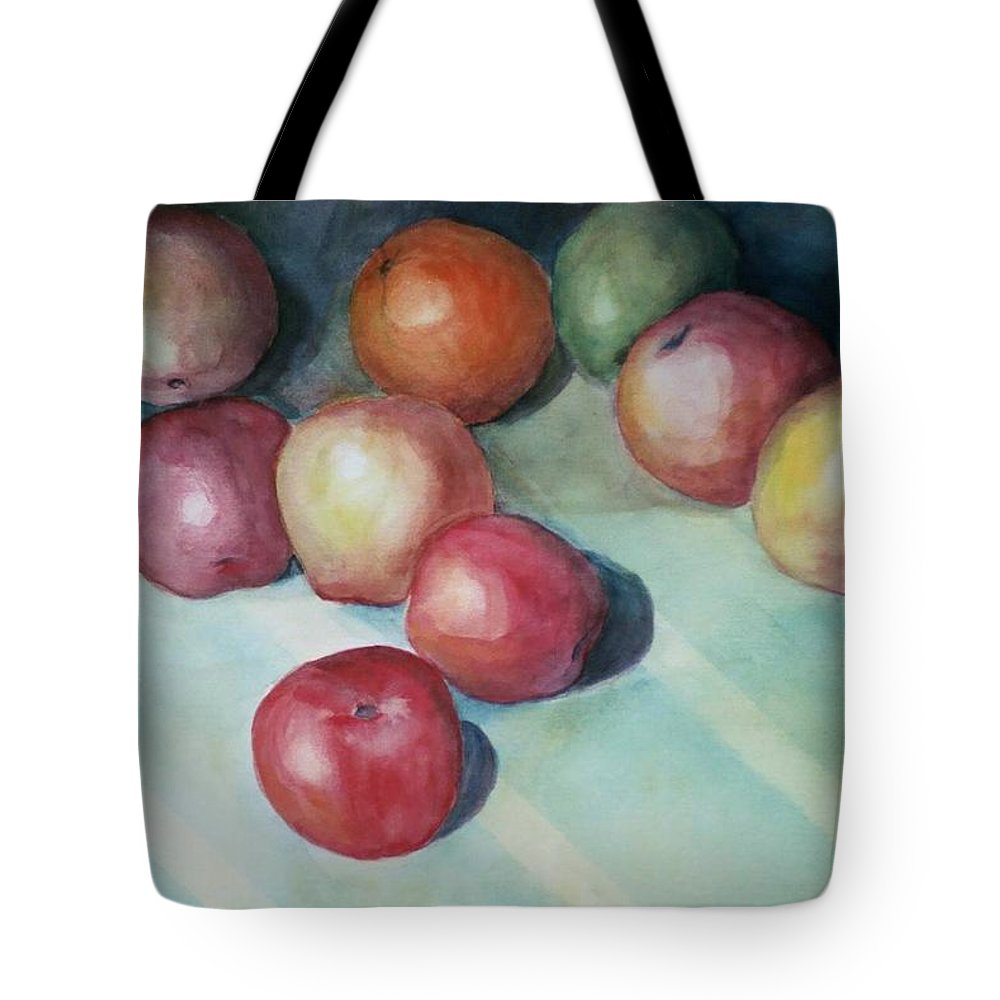 Orange Tote Bag featuring the painting Apples And Orange by Jun Jamosmos