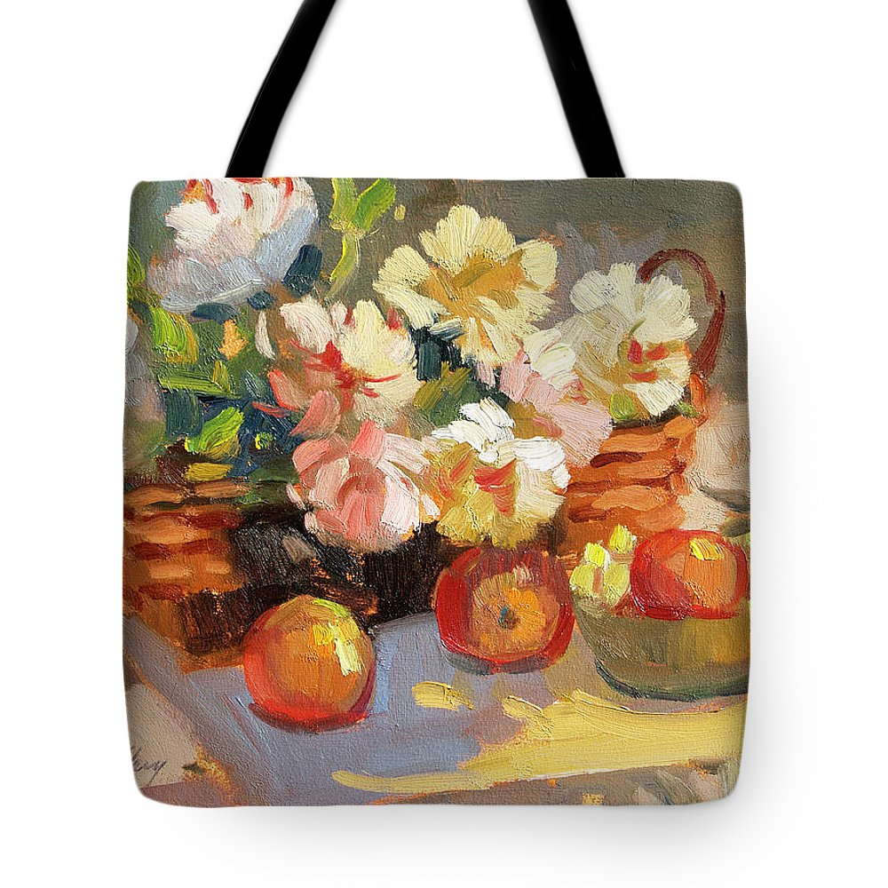 Apples And Peonies Tote Bag featuring the painting Apples And Peonies by Diane McClary
