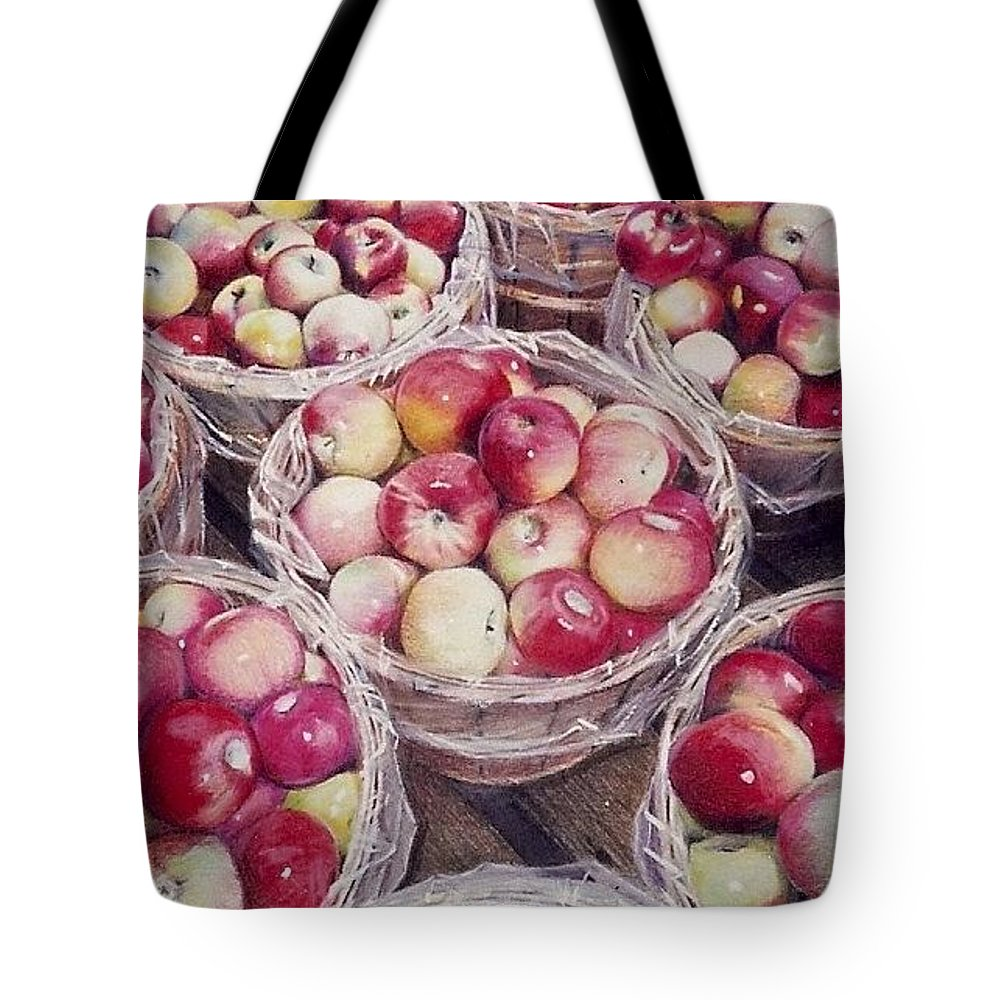Red Tote Bag featuring the painting Apples by Constance Drescher