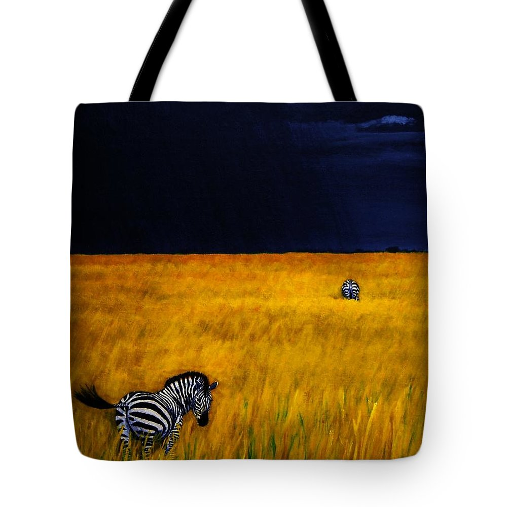 African Landscape Zebra Storm Clouds Edith Peterson Watson Scenery Nature Animals Wildlife Tote Bag featuring the painting Approaching Storm by Edith Peterson-Watson