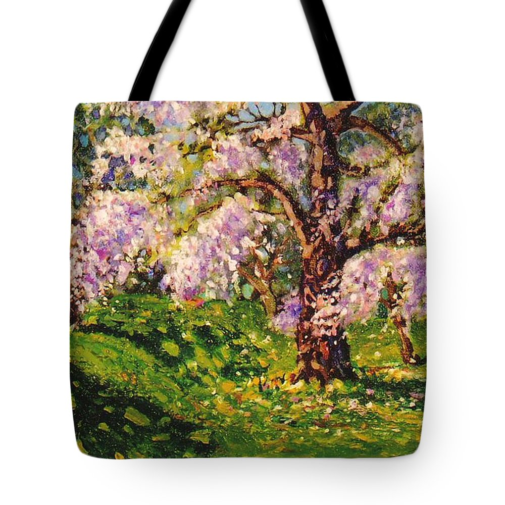 Scenic Tote Bag featuring the painting April Dream by Jonathan Carter