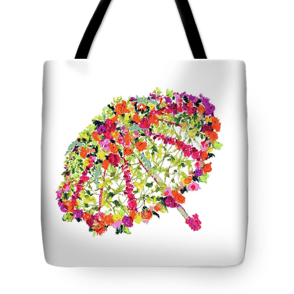 April Showers Tote Bag featuring the pastel April Showers Bring May Flowers by Lauren Heller