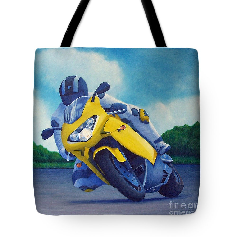 Motorcycle Tote Bag featuring the painting Aprilla - Tuesday Afternoon by Brian Commerford
