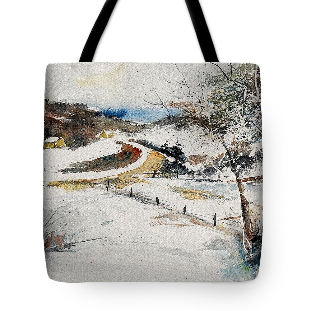 Landscape Tote Bag featuring the painting Aqua 220908 by Pol Ledent