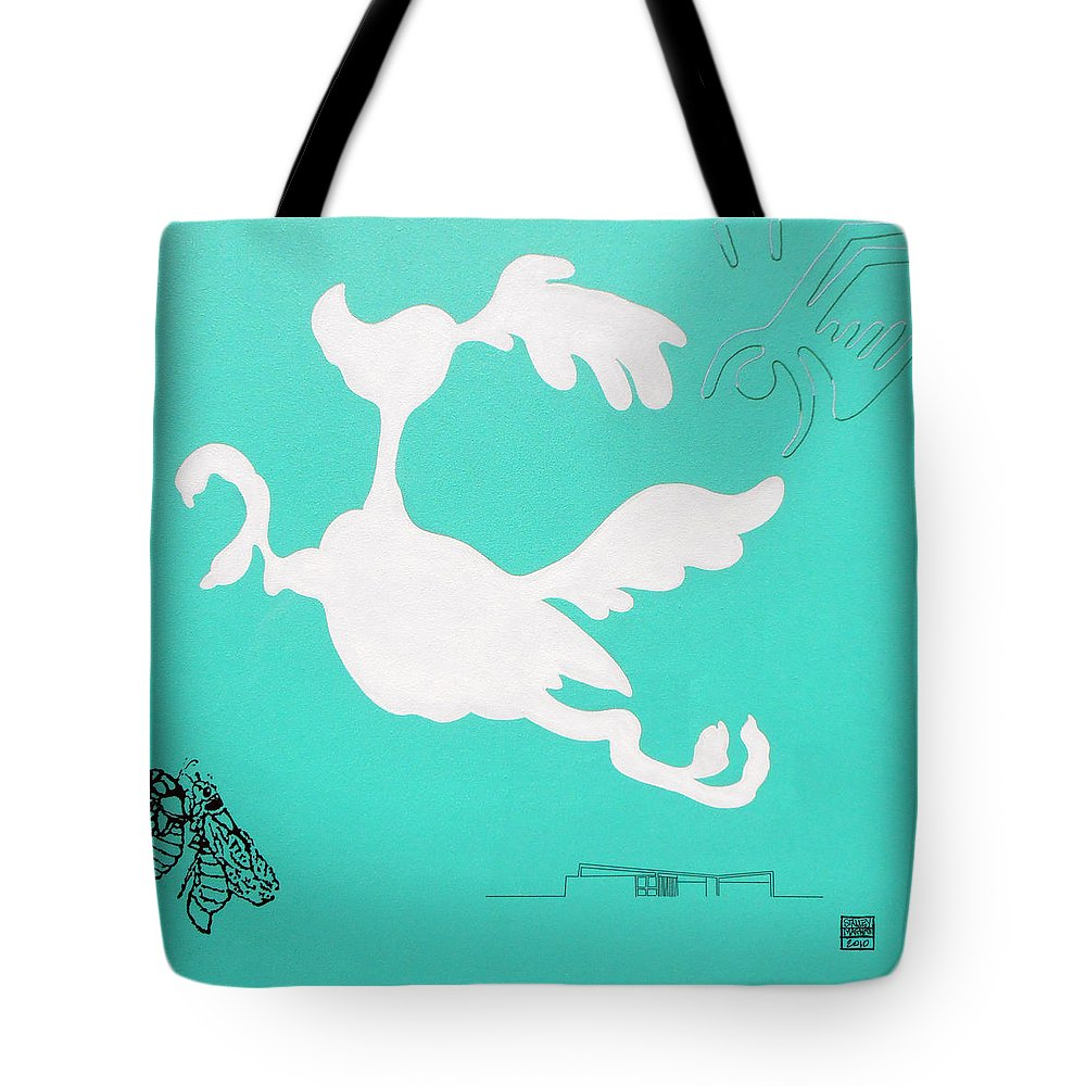 Palm Springs Tote Bag featuring the painting Aqua Palm Springs Idyll by Stan Magnan