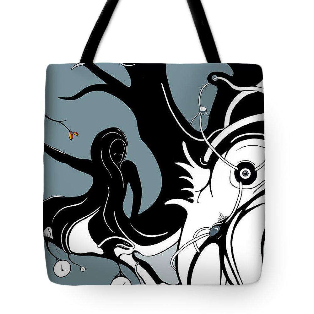 On A Limb And Aqua Grid Vines Tote Bag featuring the digital art Aqualimb by Craig Tilley