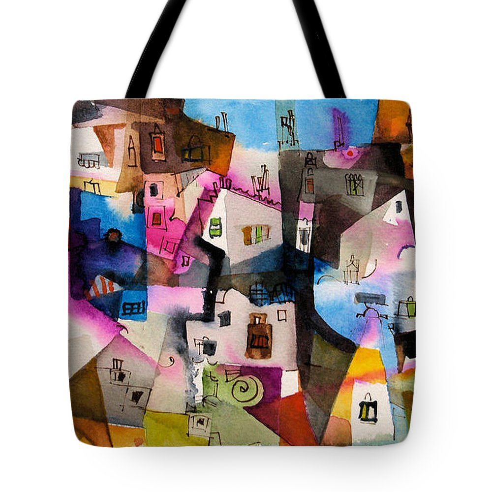 Landscape Tote Bag featuring the painting Aquarel No13 by Miljenko Bengez