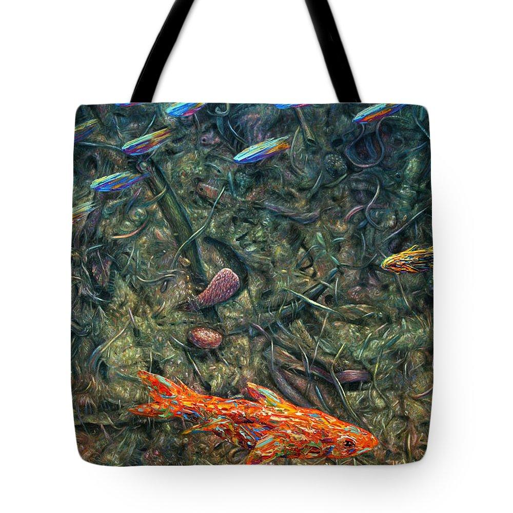 Aquarium Tote Bag featuring the painting Aquarium 2 by James W Johnson