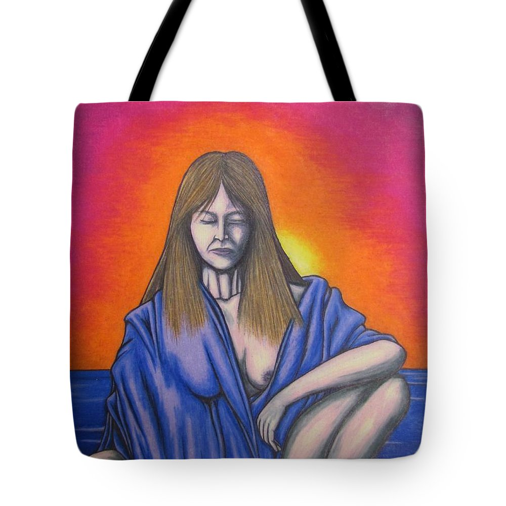 Michael Tote Bag featuring the drawing Aquarius by Michael TMAD Finney