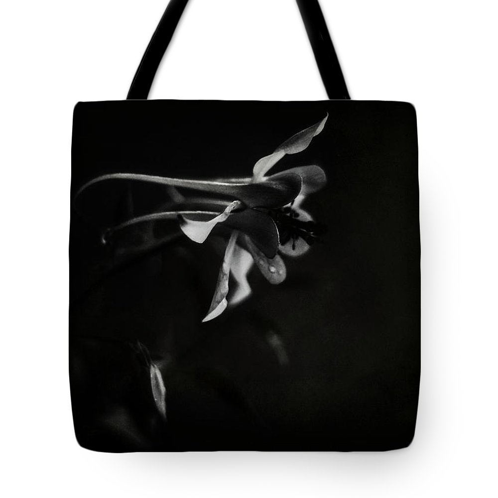 White Tote Bag featuring the photograph Aquilegia Black And White by Rebecca Sherman