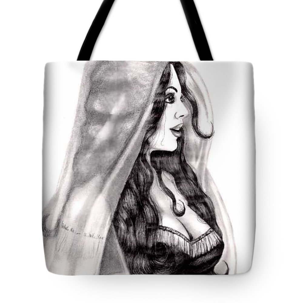 Figure Tote Bag featuring the drawing Arabian Beauty by Scarlett Royal