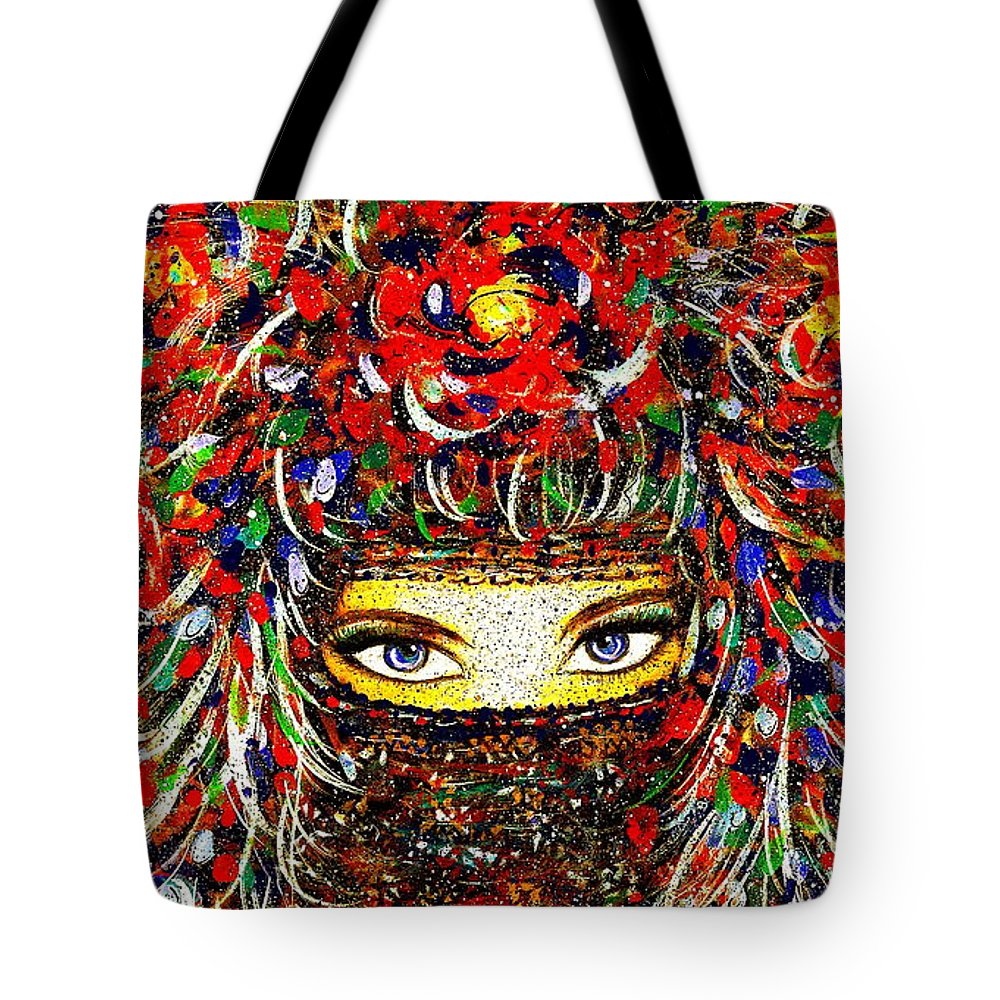 Woman Tote Bag featuring the painting Arabian Eyes by Natalie Holland