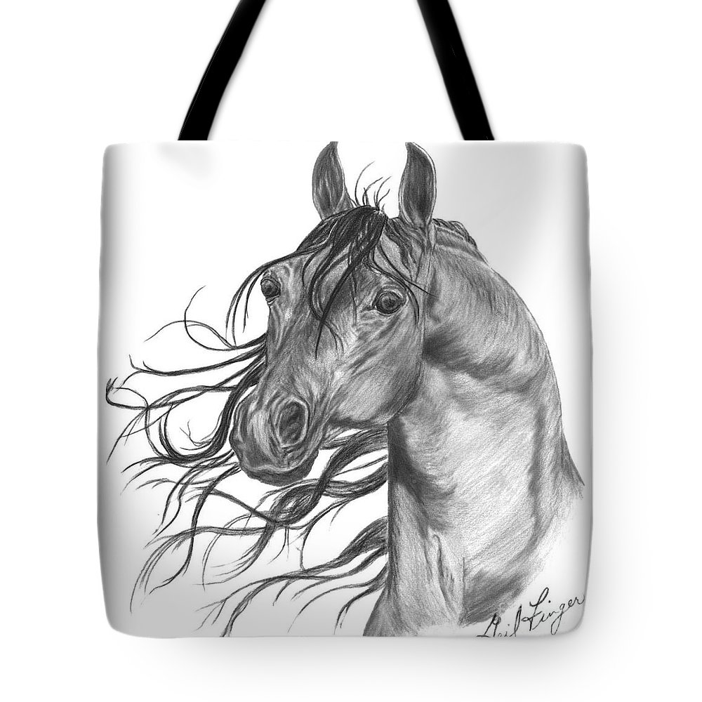 Horse Arabian Equine Tote Bag featuring the drawing Arabian Head by Gail Finger